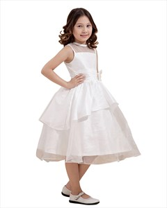 White Layered Organza Tea Length Flower Girl Dresses With Flower Detail