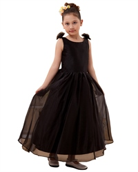 Black Organza Bow In Back Flower Girl Dress With Flower Straps