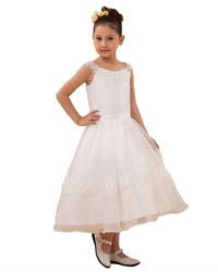 White Organza Tea Length Flower Girl Dress With Lace Applique