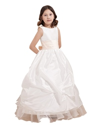 Ivory Taffeta Pick Up Flower Girl Dress With 3d Flower And Ruffle