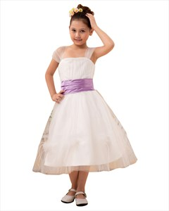 Vintage Style Ivory Tulle Tea Length Flower Girl Dress With Lilac Sash