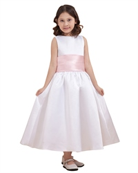 White Ankle Length Sleeveless Satin Flower Girl Dress With Pink Sash