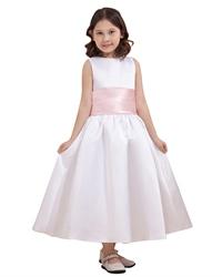 White Ankle Length Sleeveless Satin Flower Girl Dress With Pink Sash