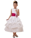 Show details for White Ankle Length Taffeta Layered Flower Girl Dress With Hot Pink Sash