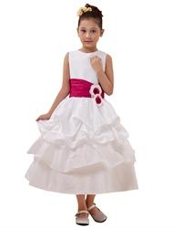 White Ankle Length Taffeta Layered Flower Girl Dress With Hot Pink Sash