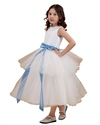 Show details for Ivory Tiered Skirt Ankle Length Tulle Flower Girl Dress With Blue Sash