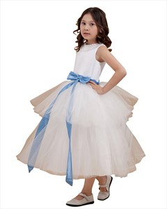Ivory Tiered Skirt Ankle Length Tulle Flower Girl Dress With Blue Sash
