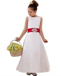 White Satin Sleeveless Button Back Flower Girl Dress With Red Sash