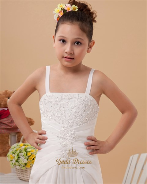 Ivory Spaghetti Strap Chiffon Flower Girl Dress With Beaded Applique