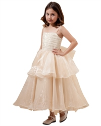 Champagne Ankle Length Layered Organza Flower Girl Dresses With Bow