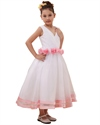 Show details for White V-Neck Flower Girl Dresses With Hand-Rolled Flower Cummerbund