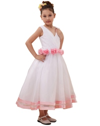 White V-Neck Flower Girl Dresses With Hand-Rolled Flower Cummerbund
