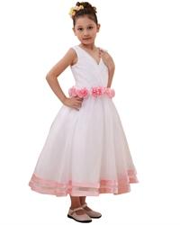 White V-Neck Flower Girl Dresses With Hand-Rolled Flower Cummerbund