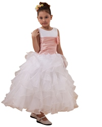 White Organza Ruffled Skirt Sleeveless Flower Girl Dress With Pink Sash