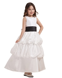 White Taffeta Bubble Hem Black Sash Flower Girl Dress With Floral Detail