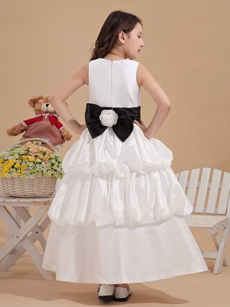 White Taffeta Bubble Hem Black Sash Flower Girl Dress With Floral Detail