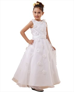 White Lace Bodice Ankle Length Organza Flower Girl Dress With Petals