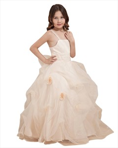 Ivory Spaghetti Strap Organza Ruffled Flower Girl Dresses With Flower