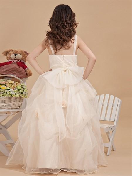 Ivory Spaghetti Strap Organza Ruffled Flower Girl Dresses With Flower