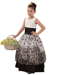 Flower girl dresses linda dress black and white double layered flower girl dresses with lace overlay mightylinksfo