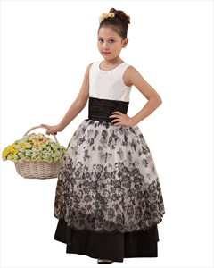 Black And White Double Layered Flower Girl Dresses With Lace Overlay