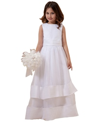 Vintage White Organza Sleeveless Flower Girl Dress With Bow In Back