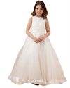 Show details for Ivory A Line Organza Floor Length Flower Girl Dresses With Applique