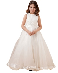 Ivory A Line Organza Floor Length Flower Girl Dresses With Applique