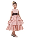 Show details for Pink Taffeta Tea-Length Tiered Skirt Flower Girl Dress With Black Sash