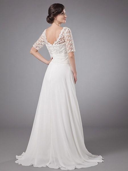Ivory A Line Lace Bodice Chiffon Beach Wedding Dress With Half Sleeves