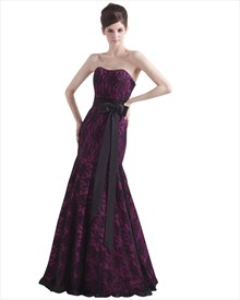 Purple Mermaid Strapless Lace Up Back Prom Dresses With Black Lace