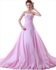 Pink Strapless Sweep Train Taffeta Prom Dress With Applique Detail