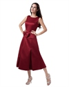 Show details for Burgundy Two Tone Tea Length Scoop Mother Of The Bride Dress With Bow