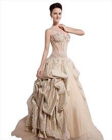 Champagne Strapless Sweetheart Organza Prom Dress With Pick Up Skirt