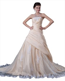 Yellow Strapless Taffeta Side Drape Prom Dress With Lace Appliques