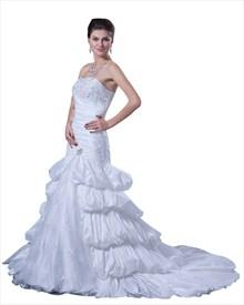 White Taffeta Layered Skirt Strapless Mermaid Wedding Gown With Beading