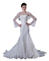 Show details for Ivory Mermaid Beaded Lace Applique Strapless Wedding Dress With Jacket