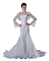 Ivory Mermaid Beaded Lace Applique Strapless Wedding Dress With Jacket