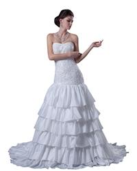 White Mermaid Strapless Beaded Bodice Wedding Dress With Layered Skirt