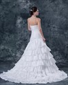Show details for White Mermaid Strapless Beaded Bodice Wedding Dress With Layered Skirt
