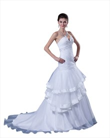 White Strapless Organza Layered Skirt Mermaid Wedding Dress With Beading