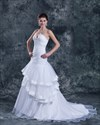 Show details for White Strapless Organza Layered Skirt Mermaid Wedding Dress With Beading