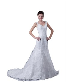 White V Neck Lace Mermaid Wedding Dress With Low Back And Cap Sleeves