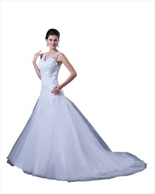 White Straps A-Line V-Neck Tulle Wedding Dress With Illusion Back