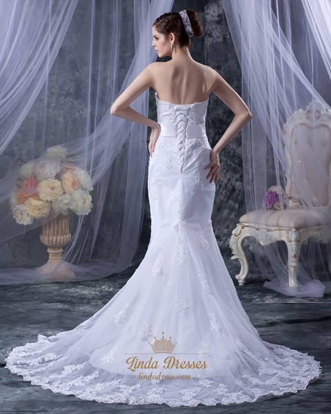 White Sweetheart Mermaid Beaded Appliques Wedding Dresses With Cloaks
