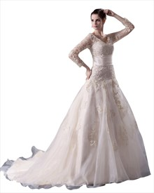 Champagne A-Line V Neck Chapel Train Wedding Dress With Long Sleeve