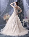 Show details for Champagne A-Line V Neck Chapel Train Wedding Dress With Long Sleeve