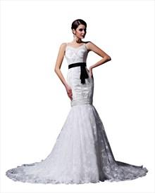 White Mermaid Beaded Spaghetti Strap Wedding Dresses With Black Sash