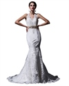 Show details for Ivory Lace Mermaid V-Neck Lace Chapel Train Keyhole Back Wedding Dress