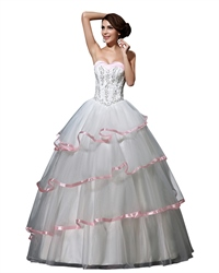 White And Pink Strapless Corset Wedding Dresses With Organza Layered